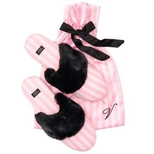 Victoria's Secret Striped Pink Slippers Black fur